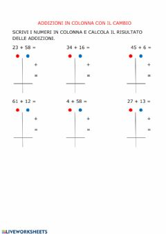 Interactive worksheet Addizioni in colonna con cambio