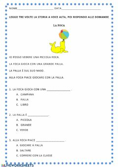 Interactive worksheet la foca