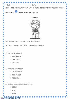 Interactive worksheet Le rose