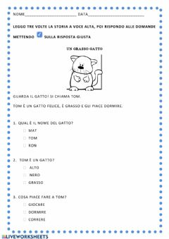 Interactive worksheet Un gatto grasso