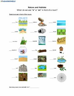 Interactive worksheet Nature and Habitat