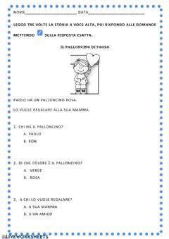 Interactive worksheet Il palloncino di Paolo