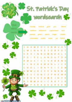 Interactive worksheet Saint Patrick's Day wordsearch