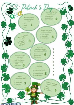 Interactive worksheet Saint Patrick's Day Quiz