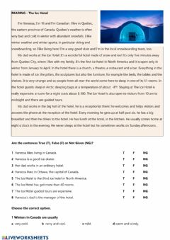 Interactive worksheet Reading - The Ice Hotel
