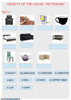 Interactive worksheet objects of the house- Pictionary