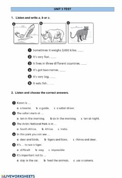 Interactive worksheet Unit 3 test