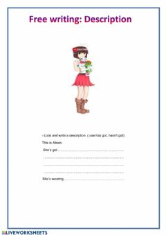 Interactive worksheet Free writing:  physical description