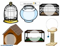 Interactive worksheet Pet homes. Listen and repeat.