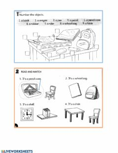 Interactive worksheet School objects practice