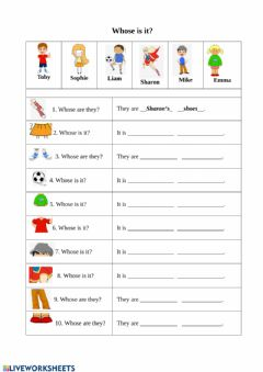 Interactive worksheet Whose is it?