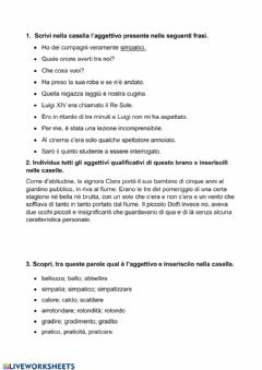 Interactive worksheet L'aggettivo
