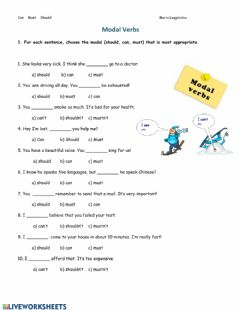 Interactive worksheet Can Must Should