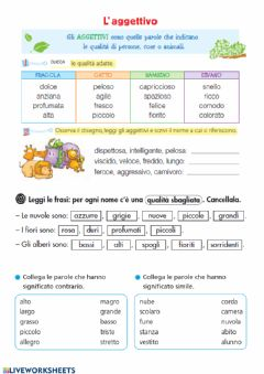 Interactive worksheet Aggettivo