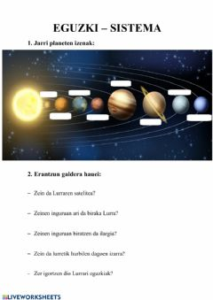 Interactive worksheet Eguzki-sistema
