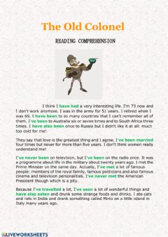 Interactive worksheet Present Perfect - reading comprehension