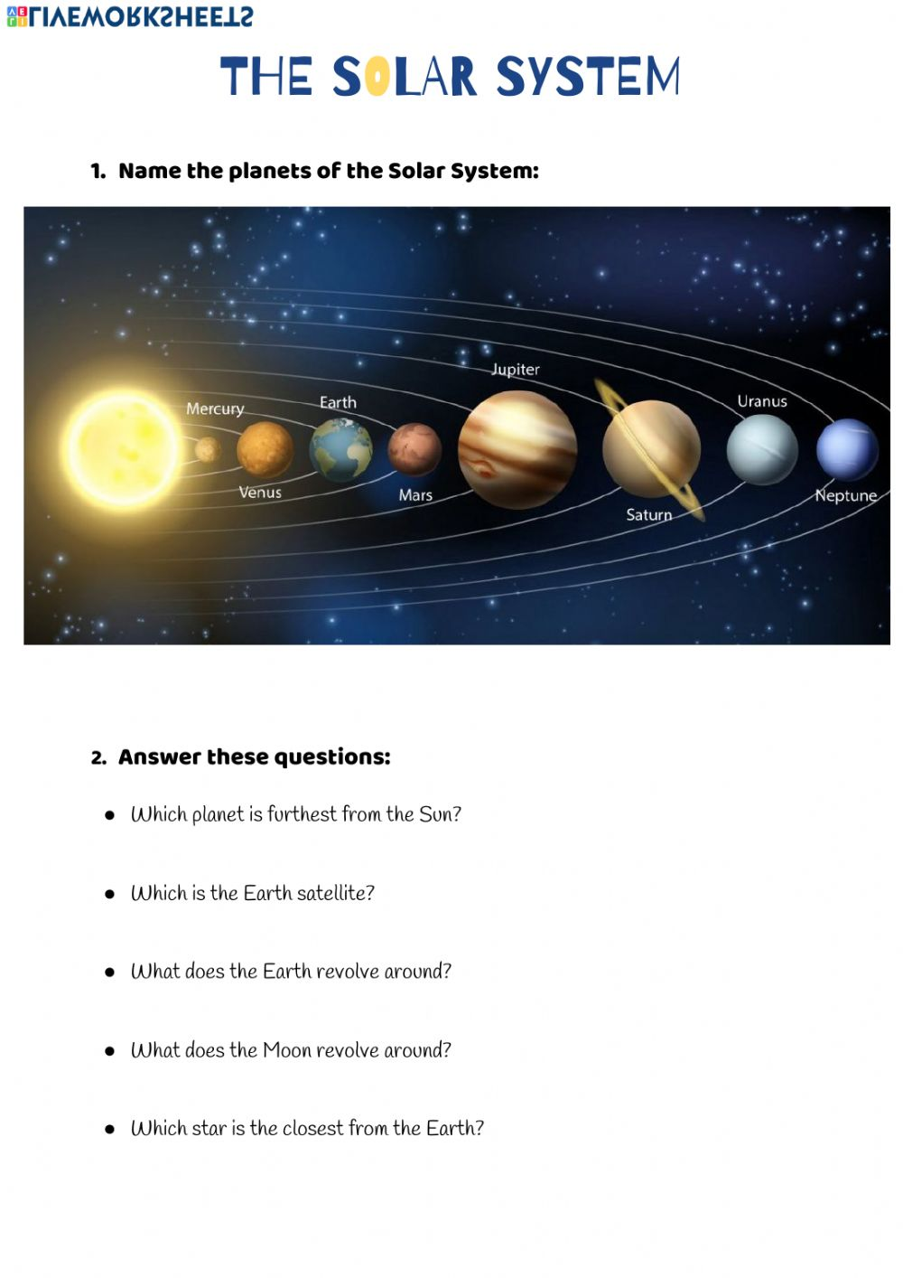 The Solar System Interactive worksheet