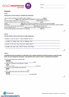 Interactive worksheet Gold experience B1 unit 5 test
