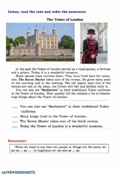 Interactive worksheet The Tower of London