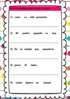 Interactive worksheet La oración 1