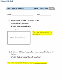 Interactive worksheet Lesson 12 Exit Ticket