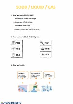 Interactive worksheet Solid liquid gas