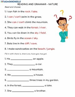 Interactive worksheet Reading and Grammar - Nature