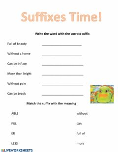 Interactive worksheet Suffixes