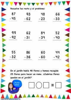Interactive worksheet Restando 1