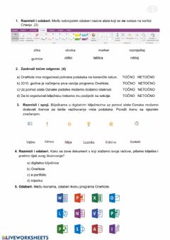 Interactive worksheet Digitalna bilježnica