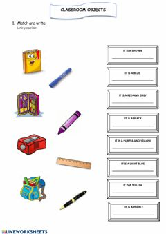 Interactive worksheet Classroom Objects 1