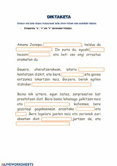 Interactive worksheet Amona Joxepa Diktaketa