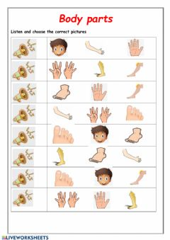 Interactive worksheet Body parts listening