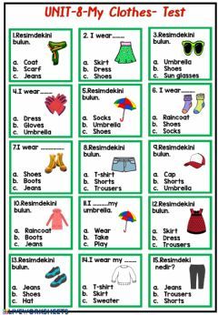 Interactive worksheet Clothes and weather test