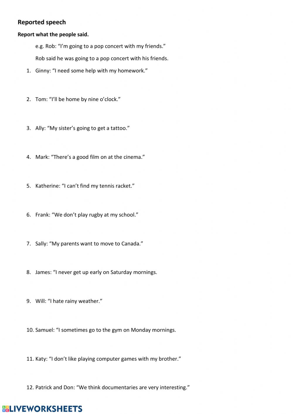 Reported Speech Exercises Worksheet Pdf Reported Speech Online Pdf Exercise For 8