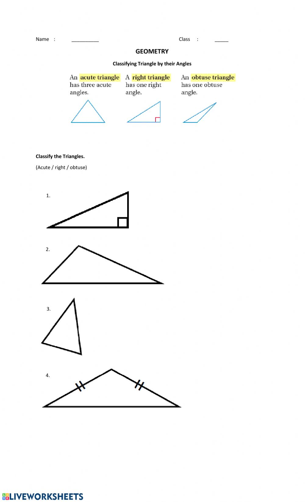 Classifying Triangles by Their Angles: Geometry worksheet