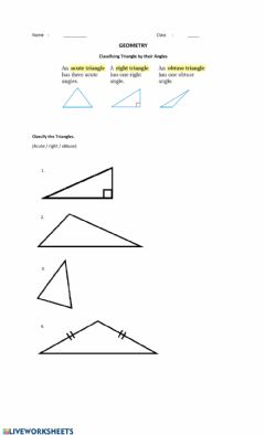 Interactive worksheet Classifying Triangles by Their Angles
