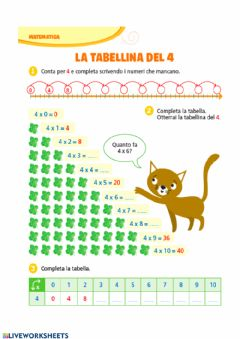 Interactive worksheet Tabellina del 4