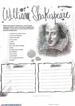 Interactive worksheet Shakespeare