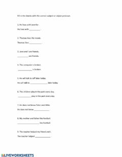 Interactive worksheet Personal and object pronouns
