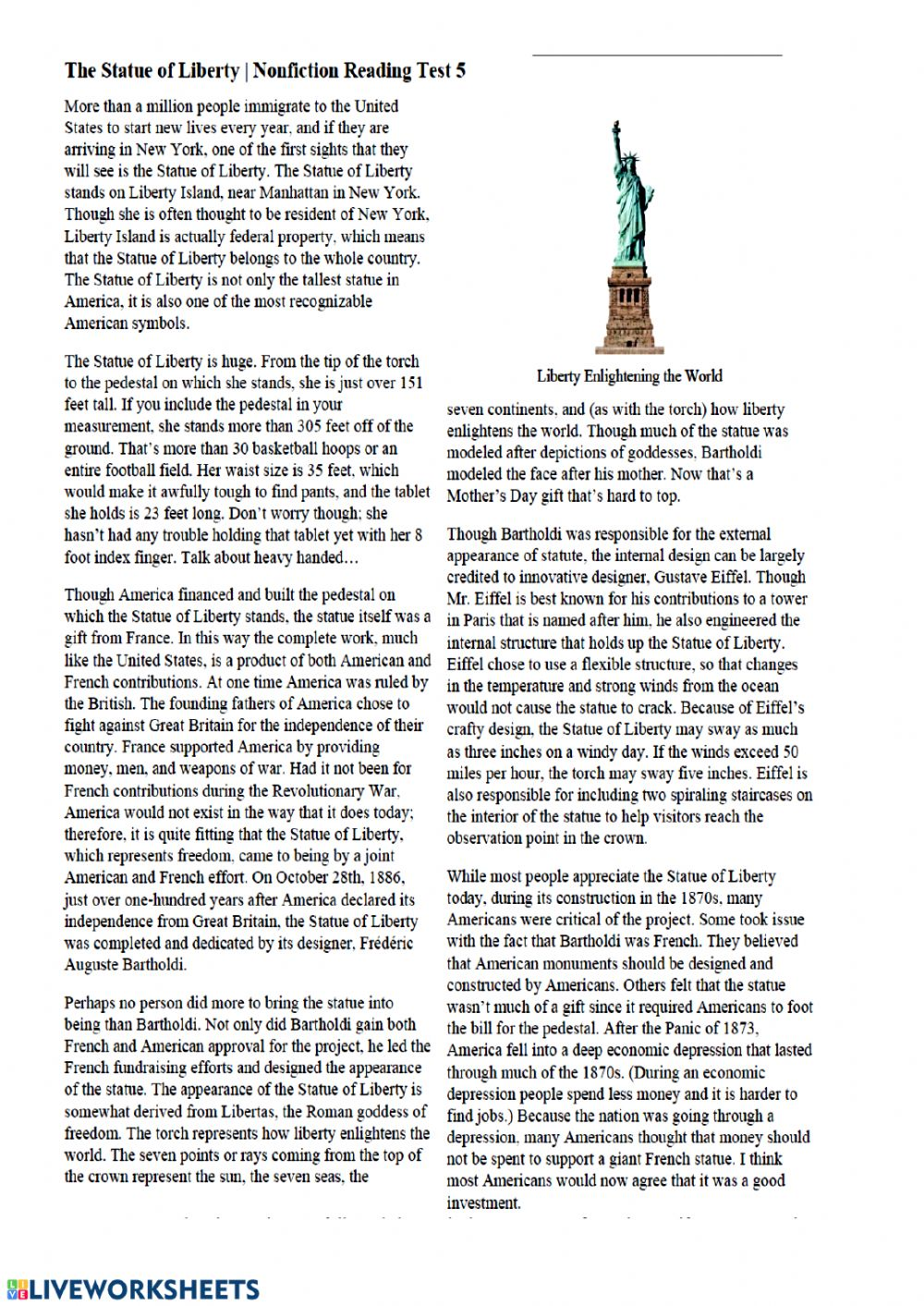 Reading comprehension - The Statue of Liberty ...