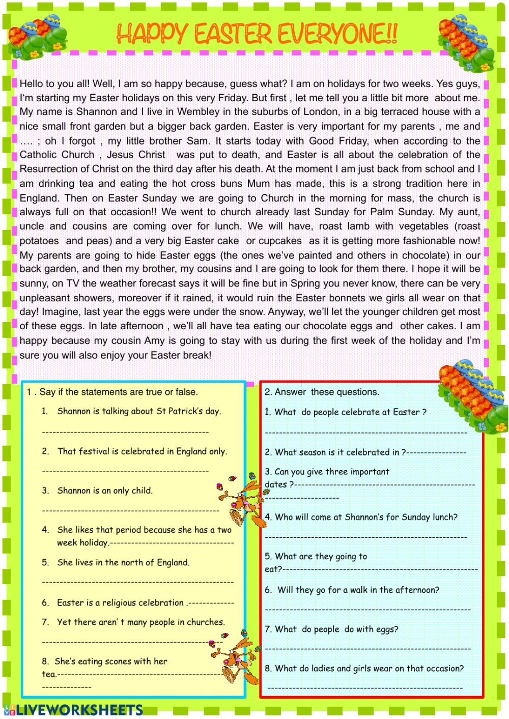 - Easter: Reading Comprehension Worksheet