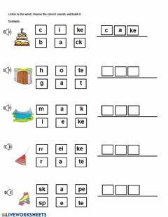 Interactive worksheet Magic e- a-e
