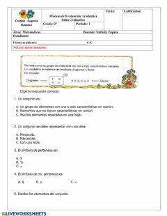 Interactive worksheet Taller evaluativo matemáticas