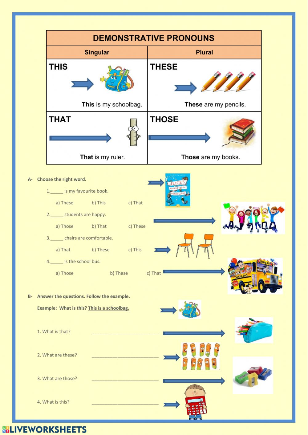 Demonstrative pronouns: online and pdf worksheet