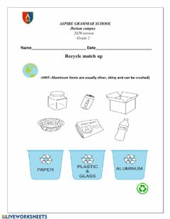 Interactive worksheet Recycling