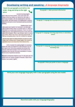 Ficha interactiva Writing and speaking: A language biography