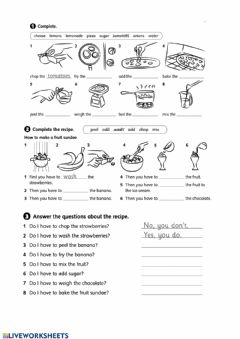 Interactive worksheet Recepie