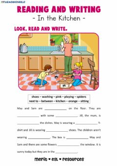 Interactive worksheet Reading and Writing - In the Kitchen