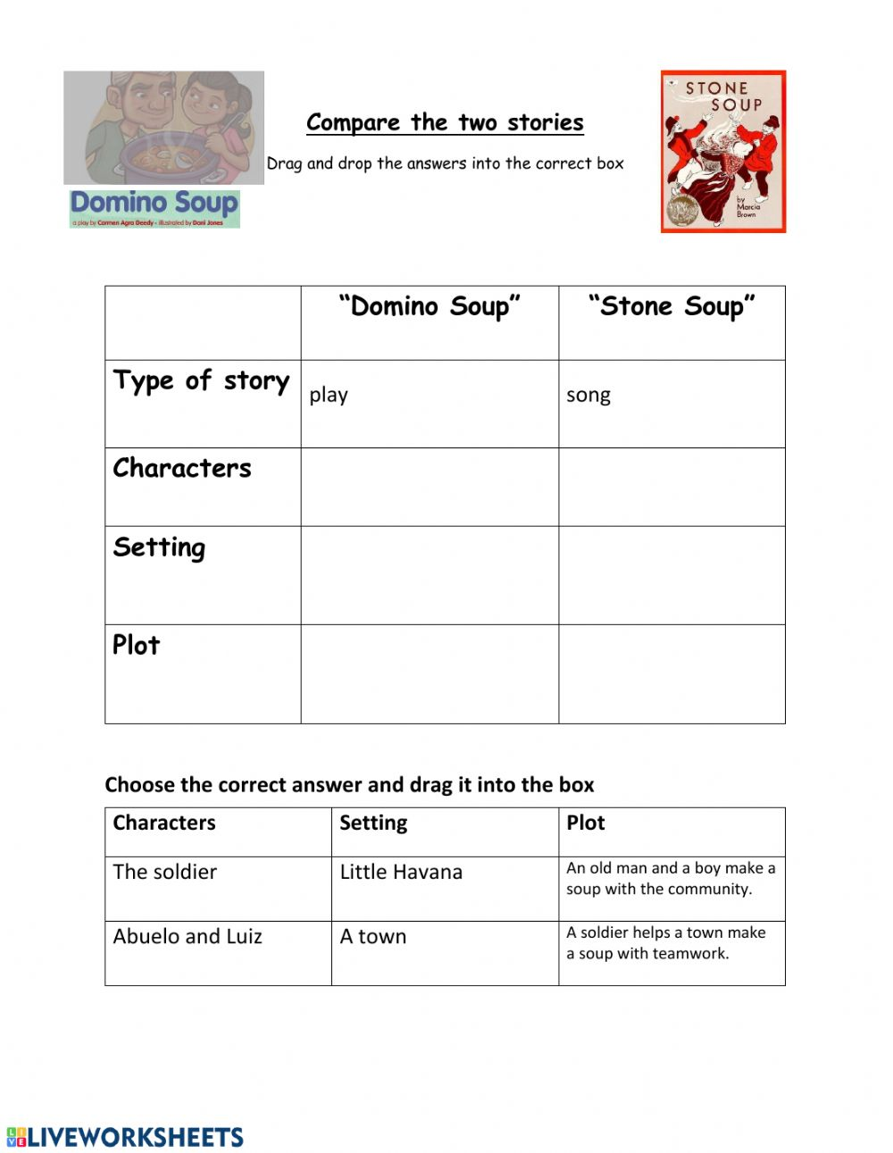 Compare Stone Soup And Domino Soup Worksheet